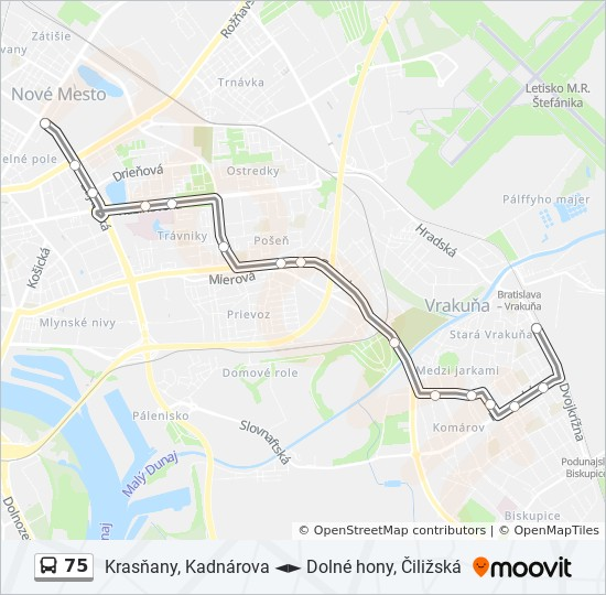 75 Route Time Schedules Stops Maps Dolne Hony Cilizska