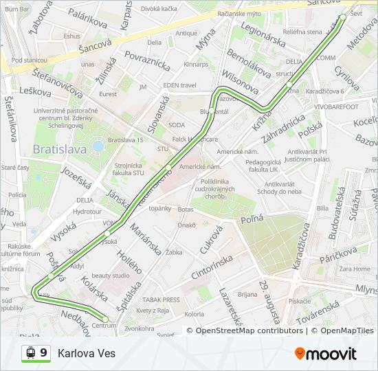 9 Trasa Harmonogram Zastavky Mapy Karlova Ves