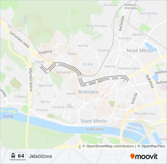 64 Trasa Harmonogram Zastavky Mapy Vozovna Trnavka