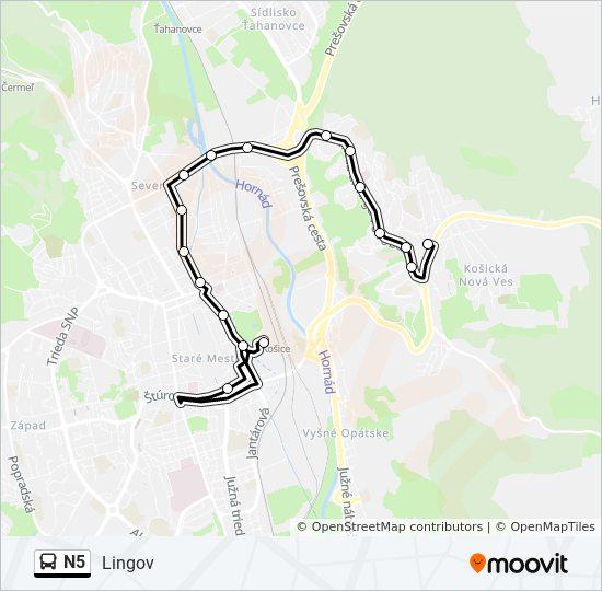 N5 Utvonal Menetrendek Megallok Es Terkepek Lingov