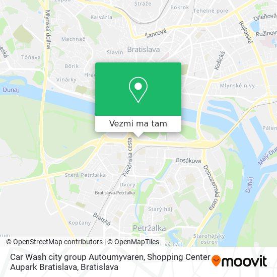 Car Wash city group Autoumyvaren, Shopping Center Aupark Bratislava mapa