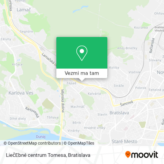 LiečEbné centrum Tomesa mapa