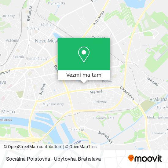 Sociálna Poisťovňa - Ubytovňa mapa