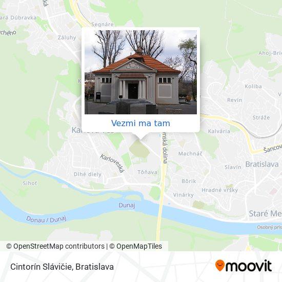 Cintorín Slávičie Údolie mapa