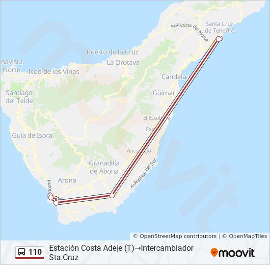Mapa De Tenerife Sur.110 Route Time Schedules Stops Maps Estacion Costa