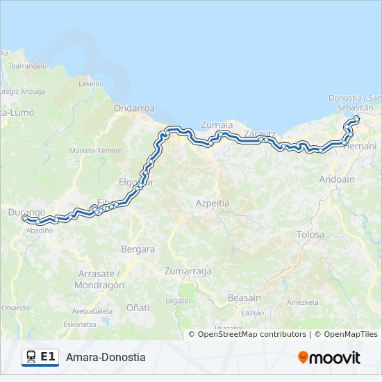 Map Of Spain Eibar.E1 Route Time Schedules Stops Maps Ermua