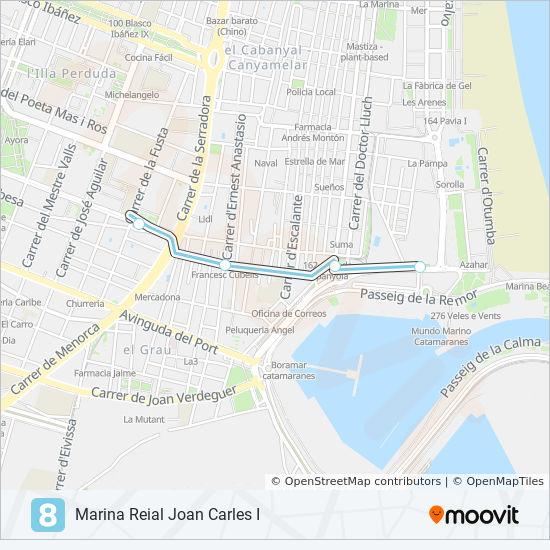 Mapa De Metro Valencia.Linea 8 Horarios Mapas Y Paradas Maritim Serreria