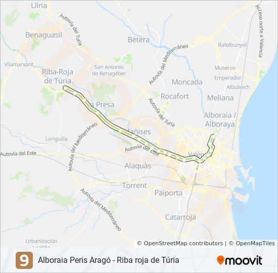 Mapa De Metro Valencia.Linea 9 Horarios Mapas Y Paradas Riba Roja De Turia
