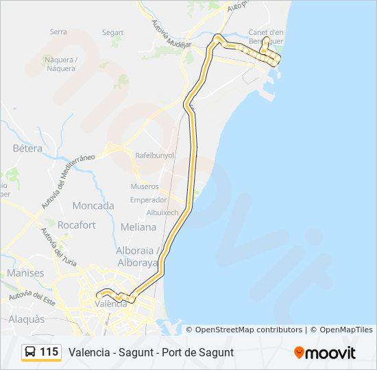 Mapa Canet De Berenguer.Linea 115 Horarios Mapas Y Paradas 115a Valencia