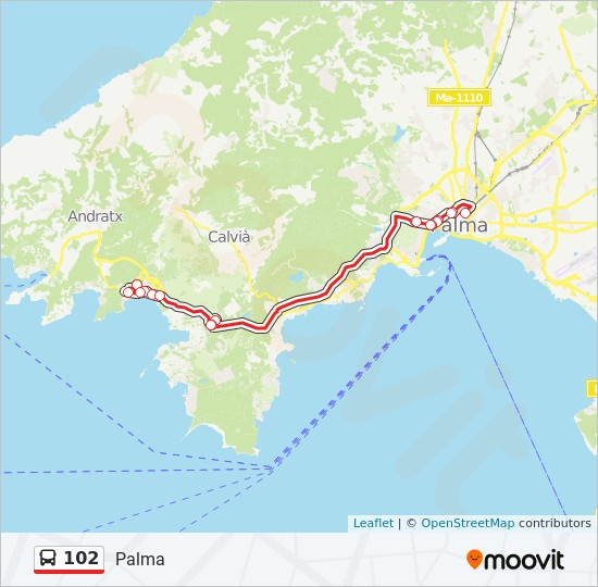Mallorca Karte Paguera.Linie 102 Fahrpläne Haltestelle Karten Palma