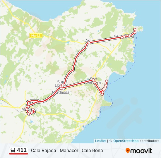 Cala Ratjada Karte.Linie 411 Fahrplane Haltestelle Karten Cala Rajada