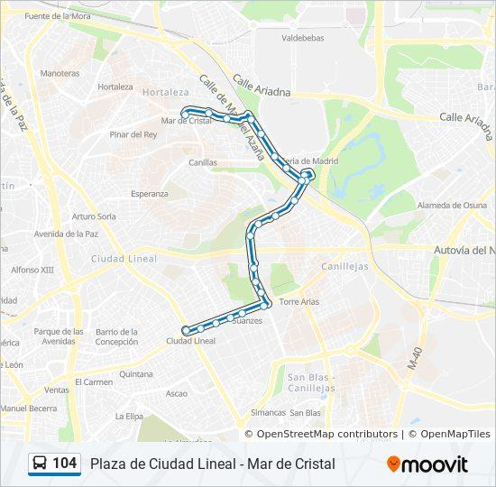 Ciudad Lineal Madrid Mapa.Linea 104 Horarios Mapas Y Paradas Mar De Cristal