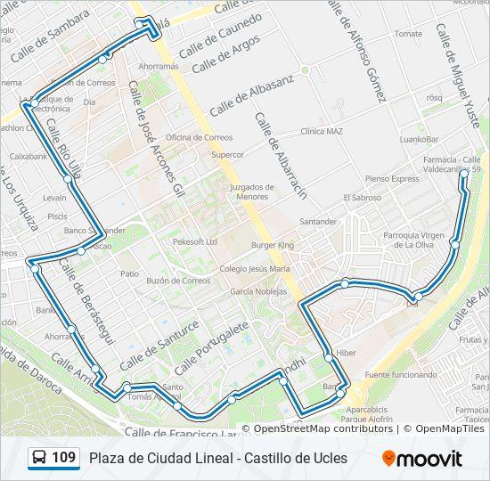 Ciudad Lineal Madrid Mapa.Linea 109 Horarios Mapas Y Paradas Ciudad Lineal