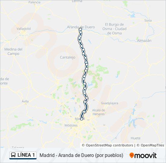 Aranda Del Duero Mapa.Linea 1 Horarios Mapas Y Paradas Madrid Aranda De
