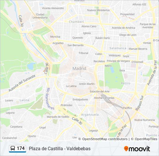 Linea 174 Horarios Mapas Y Paradas Plaza Castilla