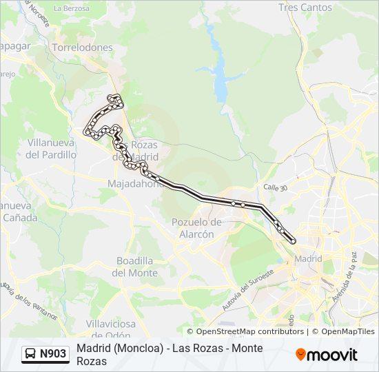 Las Rozas Madrid Mapa.Linea N903 Horarios Mapas Y Paradas Panama Chile Moncloa