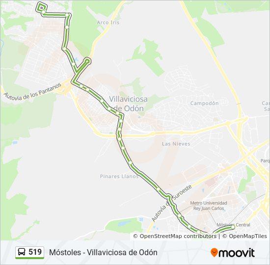 Mapa Villaviciosa De Odon.Linea 519 Horarios Mapas Y Paradas Av Portugal Est