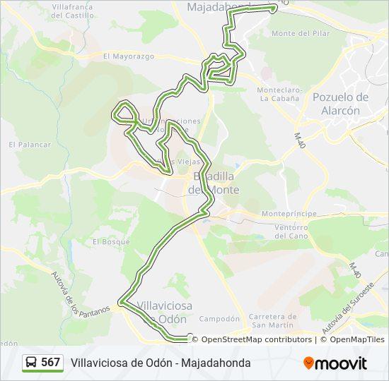 Mapa Villaviciosa De Odon.Linea 567 Horarios Mapas Y Paradas Norias Est