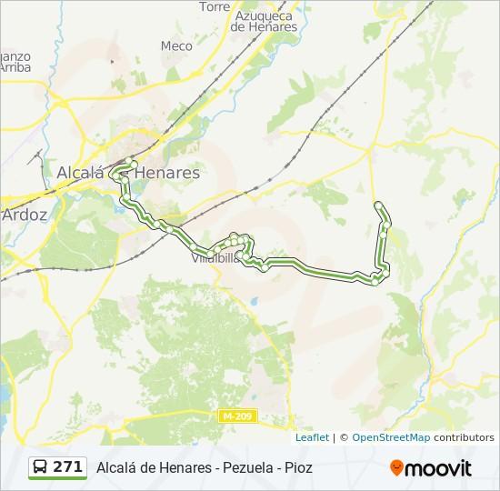 Mapa Alcala De Henares.Linea 271 Horarios Mapas Y Paradas Av Guadalajara