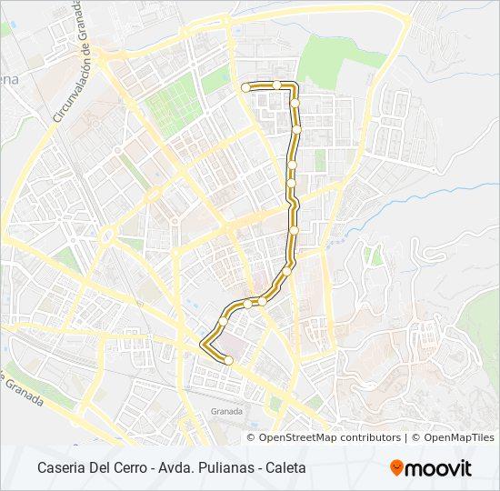 Mapa de N6 de autobús