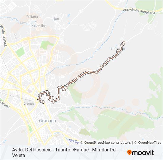 Mapa de N8 de autobús