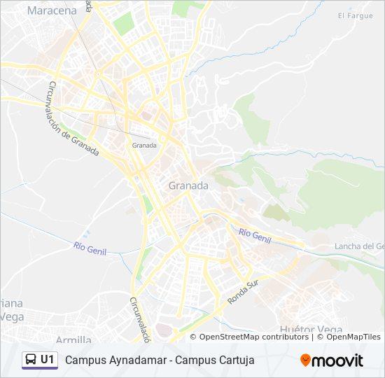 Mapa de U1 de autobús