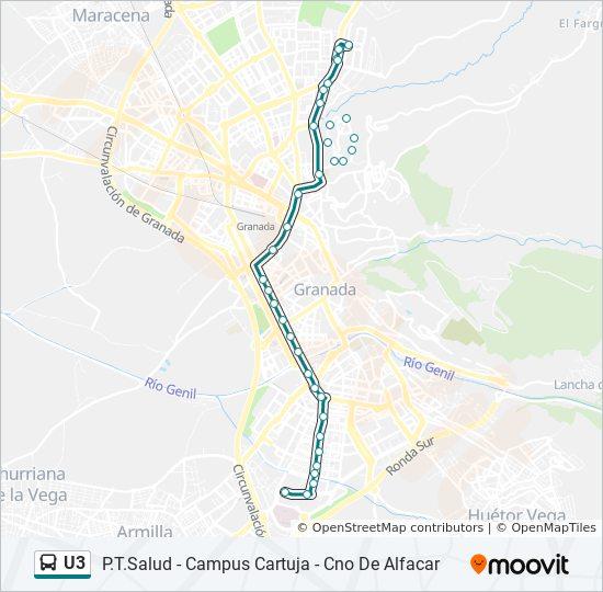 Mapa de U3 de autobús