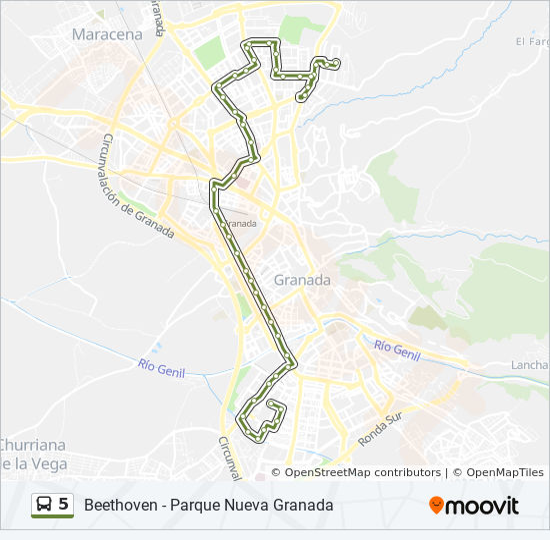 Mapa de 5 de autobús