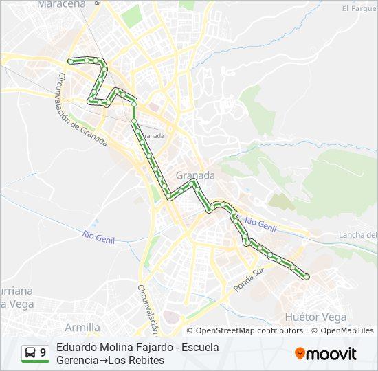 Mapa de 9 de autobús