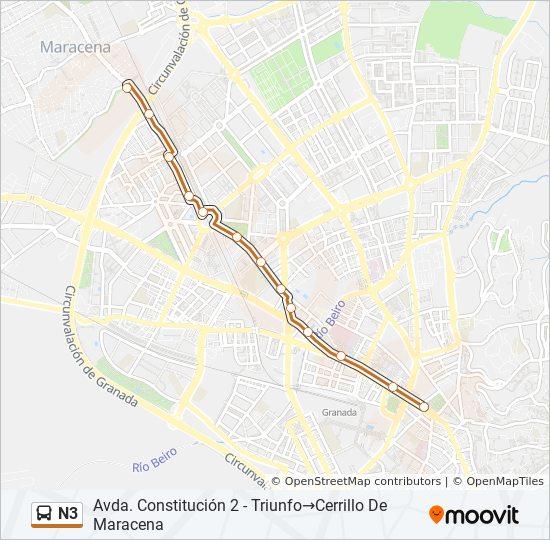 Mapa de N3 de autobús