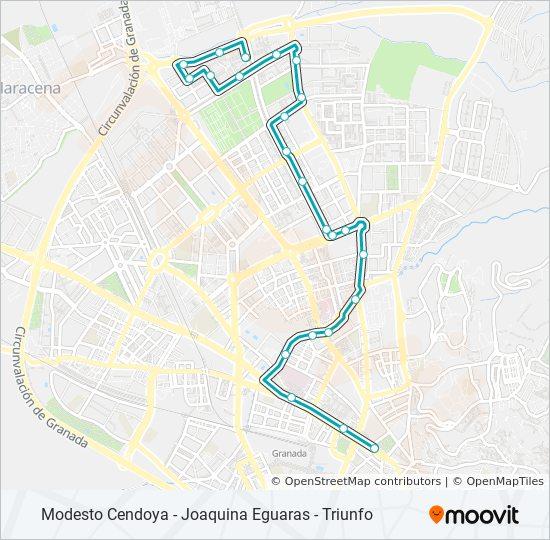 Mapa de N5 de autobús