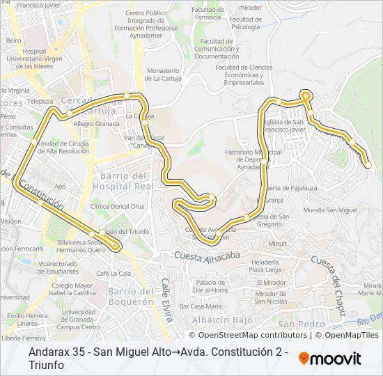 Mapa de N9 de autobús