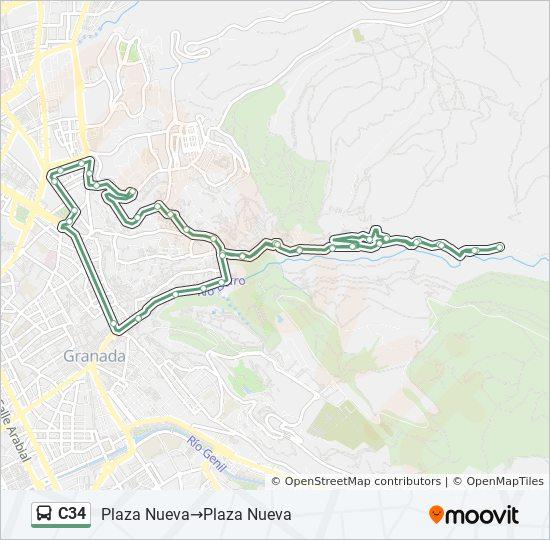 Mapa de C34 de autobús