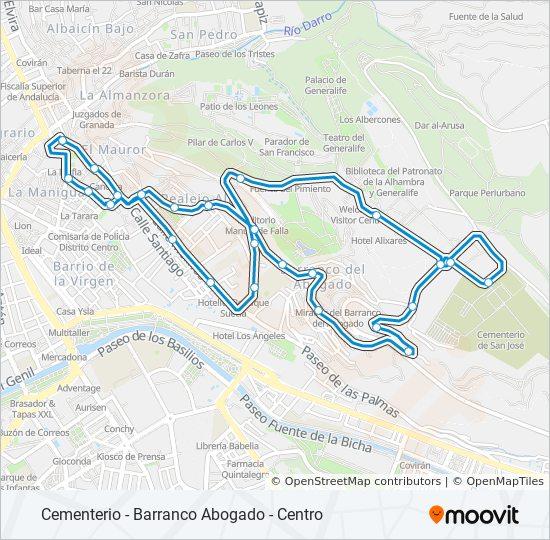 Mapa de C35 de autobús