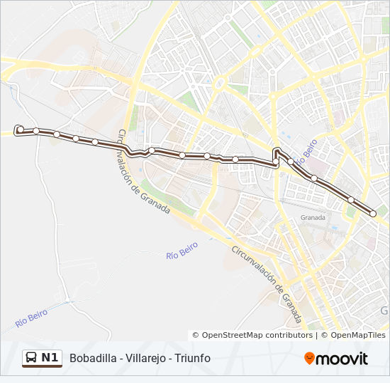 Mapa de N1 de autobús
