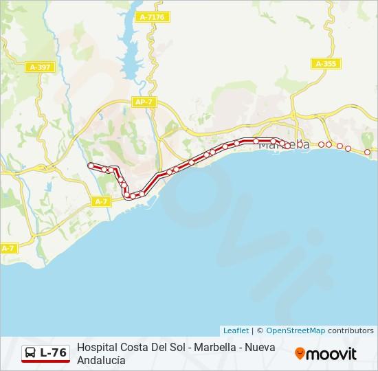 Mapa De Andalucia Costa Del Sol.Linea L 76 Horarios Mapas Y Paradas Nueva Andalucia Los