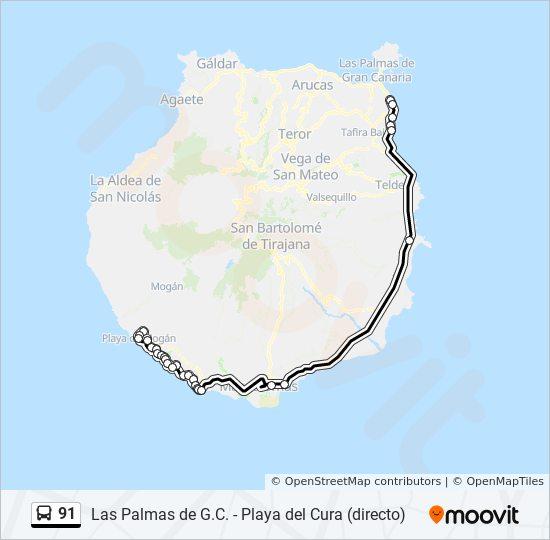 Gran Canaria Karte Flughafen.Linie 91 Fahrpläne Haltestelle Karten Estacion Puerto De Mogan