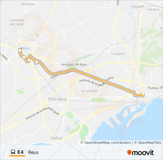 Map Of Spain Showing Salou.E4 Route Time Schedules Stops Maps Reus
