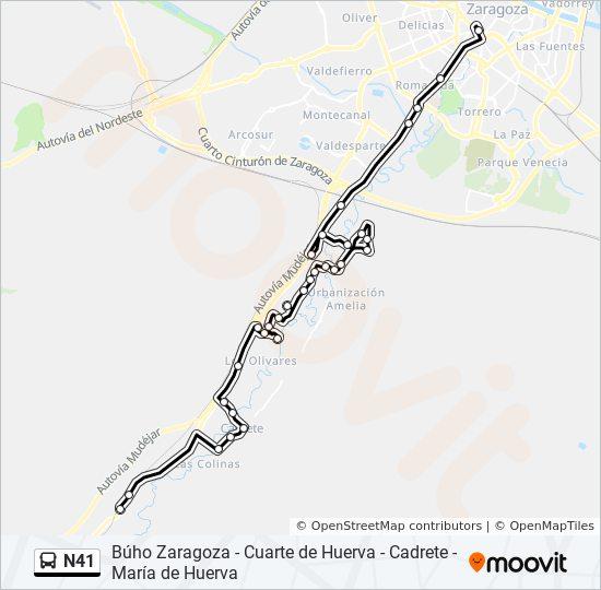 Línea N41: horarios, mapas y paradas - María de Huerva