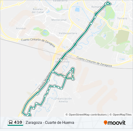 Línea 410: horarios, mapas y paradas - Zgz - Cuarte - Zgz