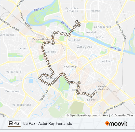 Parque Pignatelli Zaragoza Mapa.Linea 42 Horarios Mapas Y Paradas La Paz
