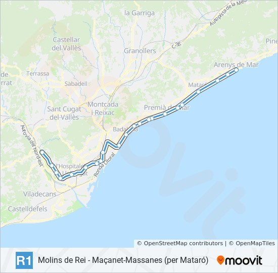 Mapa Molins De Rei.Rota Da Linha R1 Horarios Estacoes E Mapas Molins De Rei