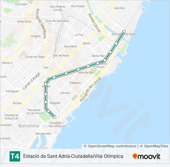 T4 Route Time Schedules Stops Maps Ciutadella Vila Olimpica