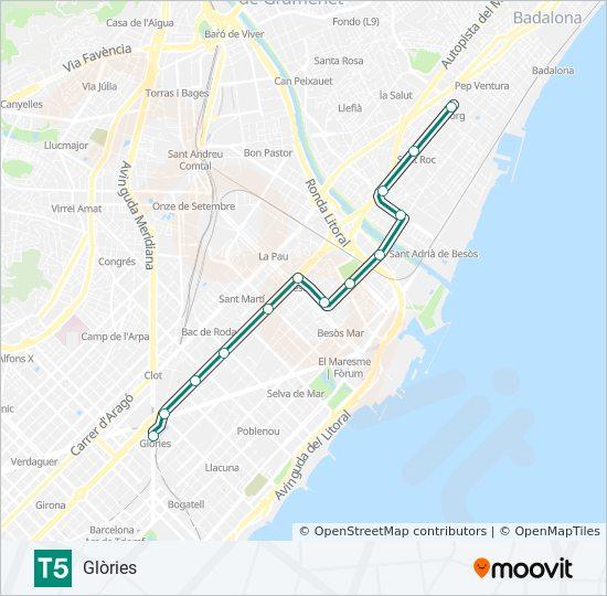 Linea T5 Horarios Mapas Y Paradas Glories