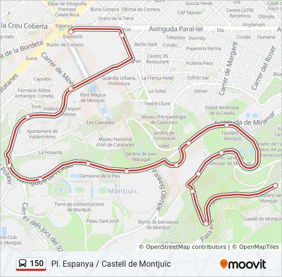 150 Route: Time Schedules, Stops & Maps - Castell De Montjuïc
