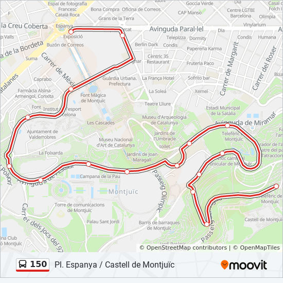 150 Route: Time Schedules, Stops & Maps - Pl. Espanya