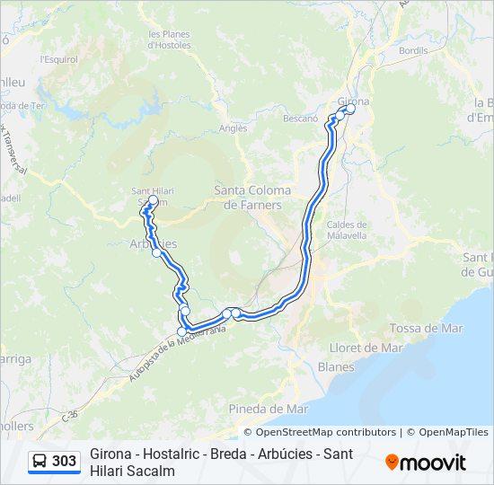 Sant Hilari Sacalm Mapa.Linea 303 Horarios Mapas Y Paradas Sant Hilari