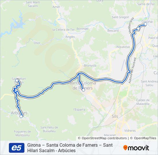 Sant Hilari Sacalm Mapa.Rota Da Linha E5 Horarios Estacoes E Mapas Arbucies Pl