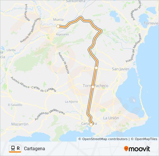 Mapa De Cartagena Murcia.Linea R Horarios Mapas Y Paradas Cartagena