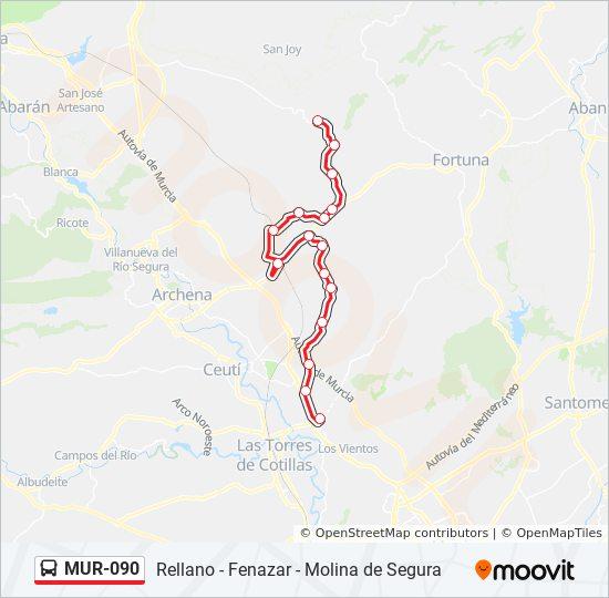 Mapa Molina De Segura.Linea Mur 090 Horarios Mapas Y Paradas Molina De Segura